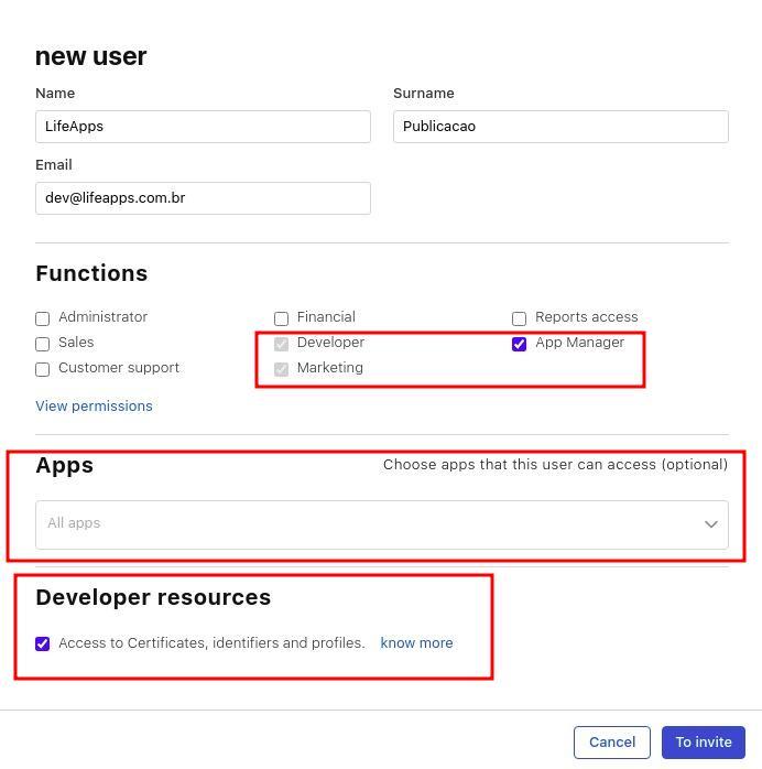 Invite as Admin - Account Developer